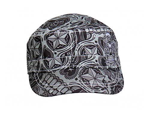 Grey Sugar Skull Pattern Cotton Army Style Cadet Cap Skull Cadet Hat