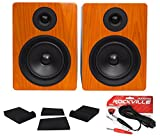 Pair Rockville APM5C 5.25'' 2-Way 250W Powered USB Studio Monitor Speakers +Pads