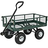Best Choice Products Heavy-Duty Steel Garden Wagon Lawn Utility Cart w/ 400lb Capacity, Removable Sides, Long Handle, 10-Inch Tires