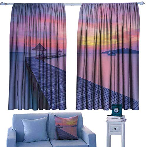 Mannwarehouse Printed Curtain Wooden Bridge Decor Collection Seascape Curve Jetty Romantic Resort Morning Panoramic View Suitable for Bedroom Living Room Study, etc. 72