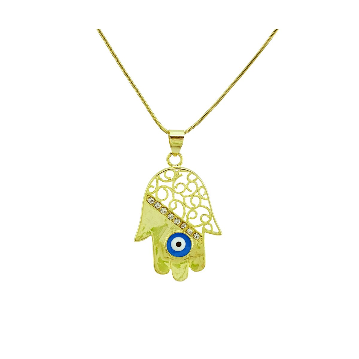 Passage 7 18K Real Gold Plated Hamsa Hand Of Fatima Evil Eye Crystal Zircon Pendant Necklace