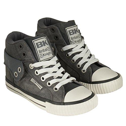 British Knights Roco - zapatillas deportivas altas de material sintético unisex negro y blanco