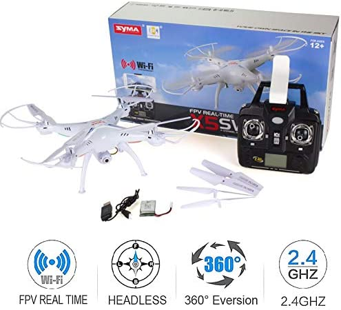 Cheerwing Syma X5SW-V3 WiFi FPV Drone 2.4Ghz 4CH 6-Axis Gyro RC Quadcopter Drone with Camera, White (Renewed) 51X84 2Bkc1ML