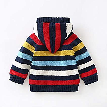 YOUZHILAN Baby Toddler Boys Girls Winter Stripe Long Sleeve Sweaters Warm Jacket