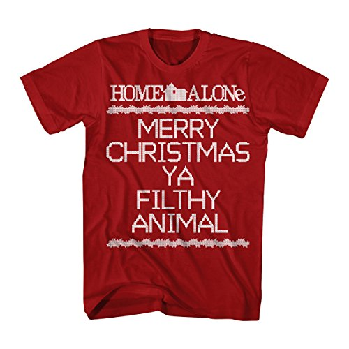 Home Alone Ya Filthy Animal Crosstitch Graphic Men's T-Shirt, Red ()