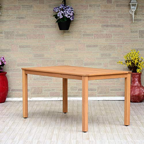 Amazonia Delaware Rectangular Dining Table | Teak Finish | Durable and Ideal for Indoors and Outdoors, Light Brown ()
