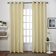 Exclusive Home Curtains Chatra Faux Silk Grommet Top Window Curtain Panel Pair, Mello Yellow, 54x96