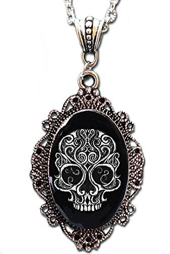 Alkemie Swirly Skull Cameo Necklace