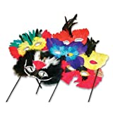 Feather Masks with Sticks (1 dz)