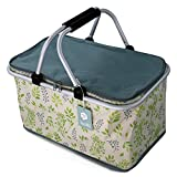 Fashion Picnic Cooler Bag for Picnic Lunch, Family Gatherings, Fruit Drinks Beer Refrigerated, Cooked Food Insulation, Foldable, Portable Picnic Baskets, Lunch Bags, Lunch Boxes, Leaves