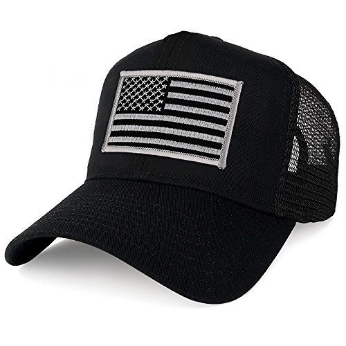 (Armycrew XXL Oversize Black Grey USA Flag Patch Mesh Back Trucker Baseball Cap - Black)