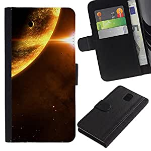 Ihec-Tech / Flip PU Cuero Cover Case para Samsung Galaxy Note 3 III N9000 N9002 N9005 - Space Planet