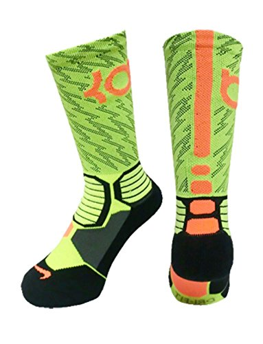 Nike KD Hyper Elite Basketball Crew Socks (Large, Volt/Total Orange/Black)