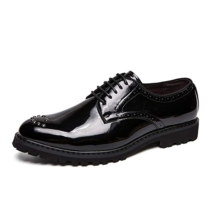 Fang-shoes, 2018 Zapatos Hombre, Oxford Formal de Moda Casual de los Hombres Low-Top Personalidad Remache Zapatos Formales de Charol (Color : Negro, ...