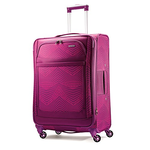 Pink Suitcase - American Tourister Ilite Max Softside Spinner 25, Pink/Purple Stripes