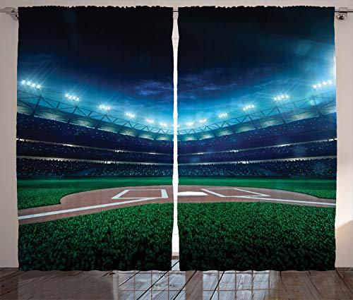 Ambesonne Baseball Curtains, Professional Baseball Field at Night Vibrant Playground Stadium League Theme Print, Living Room Bedroom Window Drapes 2 Panel Set, 108 W X 84 L Inches, Blue - Baseball Rug Field