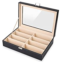 MVPower Eyeglass Storage Case PU Leather Sunglasses Box,8 Slots Sunglass Storage Case