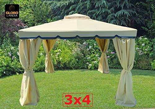 Eurolandia s.r.l. - Cenador de jardín - Modelo 676165 - Medidas 3 x 4 mt - Estructura de aluminio - Techo de PVC (policloruro de vinilo) de 400 gr -Impermeable - Mosquiteras laterales: Amazon.es: Hogar