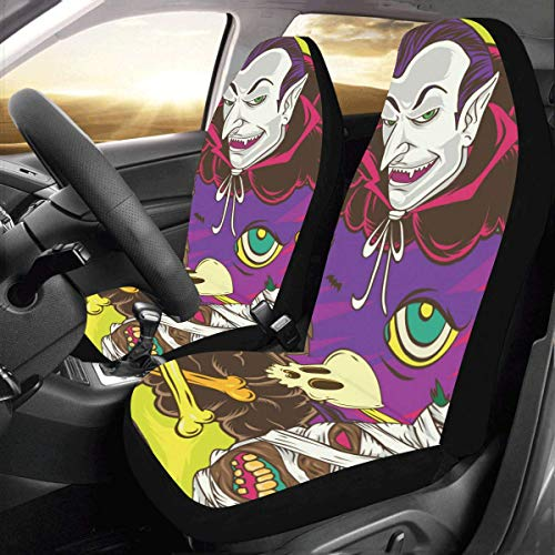 (Artsadd Halloween Horror Monsters Car Seat Covers (Set of 2) Best Automobile Seats)