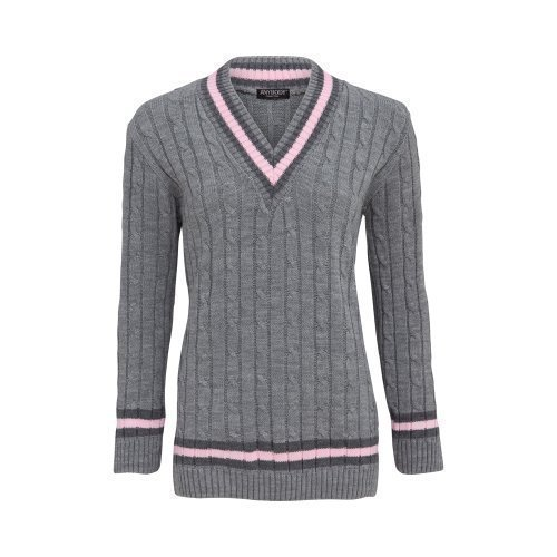 Anybody Collection - Pull Femme Style Cricket Col V Motif Rayure Neuf Taille 36-42 Gris
