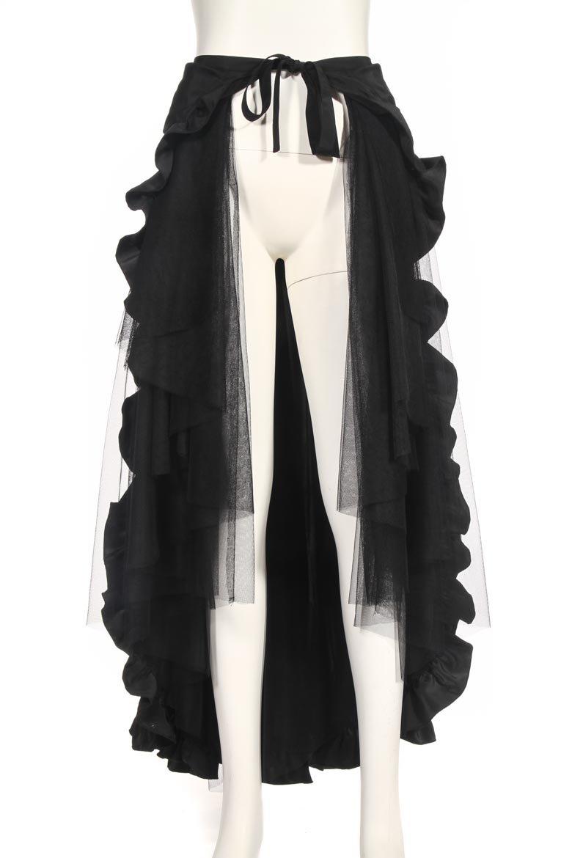 HaoLin Steampunk Retro Victorian Punk Cincher Lace up Long Ruffle Pencil Skirt Black 4