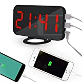 Pawaca 2018 New Fashion Mirror Digital LED Alarm Clock with Dual USB Port for Phone Charger, 6.5-inch Large Screen, Auto Dimming, Snooze Function, Diming Mode - Red Font