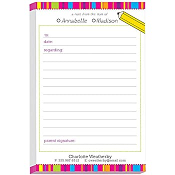 amazon com colorful dashes excuse pad personalized school