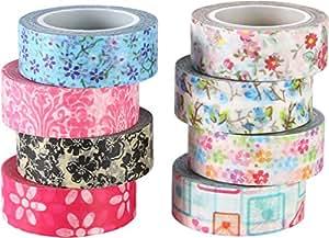 Colorida Flor Cinta Washi decorativos papel adhesivo Cinta adhesiva, 15 mm x 9,1 m cada una, 8 piezas