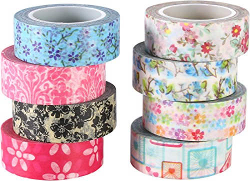 ST Washi Masking Tape Collection, Spring Flowers ,0.59 inch X 10 Yards each,Pack of 8 - for DIY crafts,Scrapbook,Decorating Office Party creative - Spring 8 St