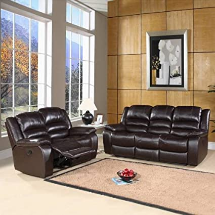 Amazon.com: Brownstone Reclining Leather Sofa and Loveseat ...