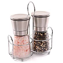 Pococina Salt and Pepper Mills Set Shakers with Ceramic Adjustable Grinders (Glass Set)