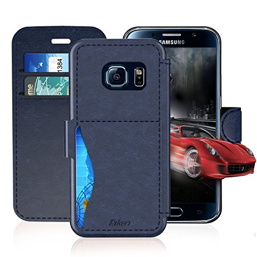 Samsung Galaxy S6 Leather Wallet Case with Credit Cards Slot and Metal Magnetic, TAKEN Galaxy S 6 Plastic Flip Case / Cover, Vintage and Fashion, Durable and Shockproof Holster (Blue) 2015