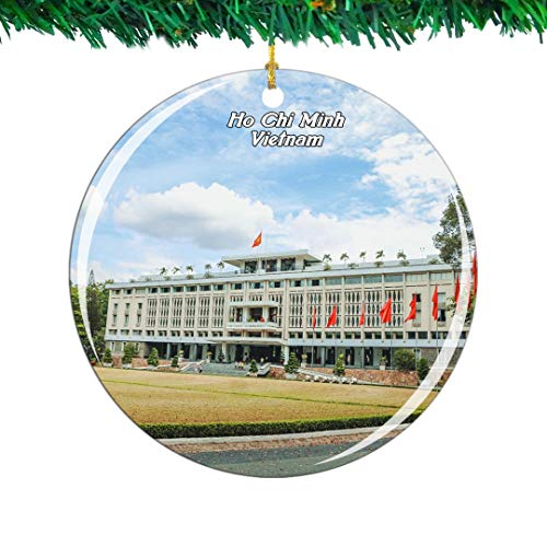 Weekino Vietnam Reunification Palace Ho Chi Minh Christmas Ornament City Travel Souvenir Collection Double Sided Porcelain 2.85 Inch Hanging Tree Decoration
