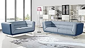 Bain Tufted Fabric Sofa Bed with Chrome Legs - Denim Blue