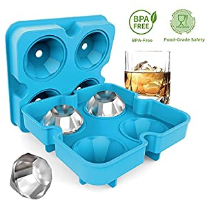Ice Cube Trays with Lids, Diamond-Shaped Silicone BPA-Free Stackable Easy Release Ice Molds Multifunctional Storage Containers for Ice, Whiskey, Candy and Chocolate by Bella Vino (Blue-4Pack)