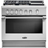 DCS RGV2364GDL 36 Freestanding Liquid Propane Gas Range with 4 Sealed Dual Flow Burners 5.3 Cu. Ft. Oven Capacity Griddle Convection Bake and Flat Vent Trim: Stainless