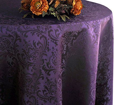 Wedding Linens Inc. 90 Inch Round Jacquard Damask Polyester Tablecloths Table Cover Linens for Restaurant Kitchen Dining Wedding Party Banquet Events - Eggplant (Eggplant Tablecloth Damask)
