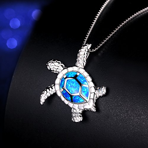 "Victoria Jewelry [Health and Longevity] 925 Sterling Silver Created Blue Opal Sea Turtle Pendant Necklace 18"", Birthstone Jewelry for Women(Blue)"