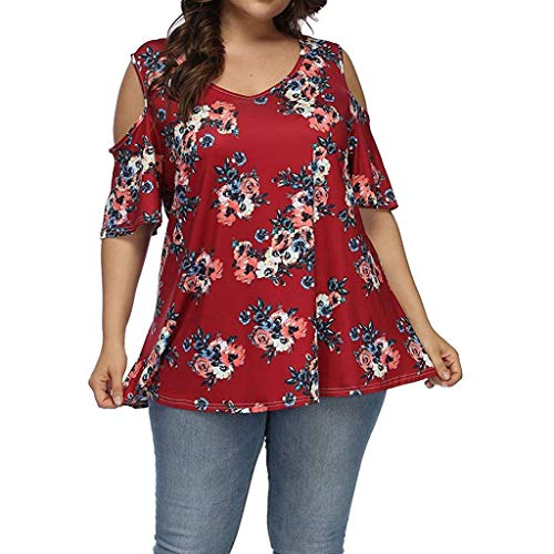 QIQIU Women's Plus Size Floral Print One Shoulder Sexy Short-Sleeve Casual Loose Elegant T-Shirt Tops Red