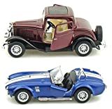 Playking Kinsmart Combo of Ford 1932 Coupe and Shelby Cobra 5'' Die Cast Metal, Doors Openable and Pull Back Action Car (Color May Vary)