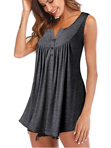 Button Tank In Grey - Famulily Women's Sleeveless Swing Tunic Basic Summer Loose Fit Tank Top Grey S