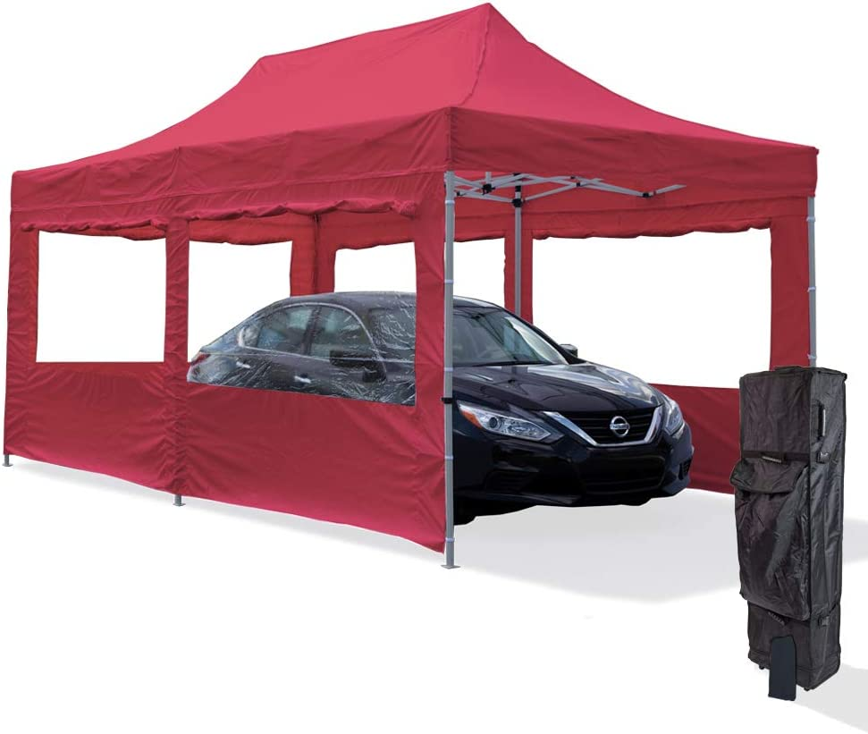 B07F2NQN74 Vispronet Red 10x20 Aluminum Carport Canopy Tent with 2 10x20 Window Walls, 1 10x10 Window Wall, Roller Bag, and Stake Kit 51X88urv5AL