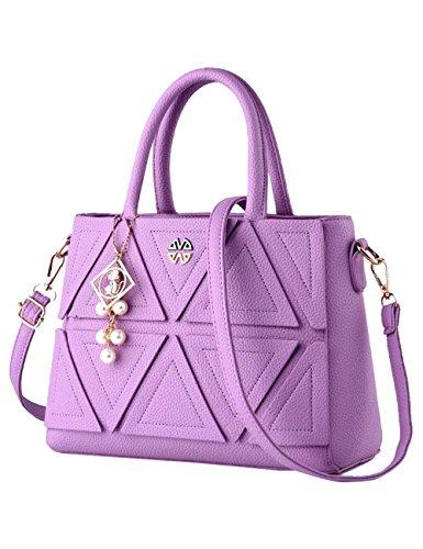 Tote tracolla signore borsa PU Leather a Rosso lucida Bag CUKKE Viola nuove wCzYqY5