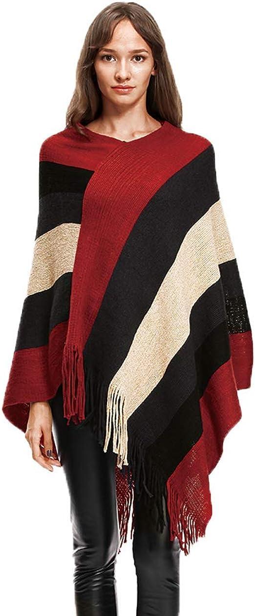 BOLAWOO Damen Poncho Pullover Herbst Poncho Strickjacke