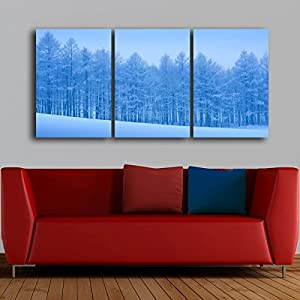 Gardenia Art - Peaceful Snow Scenery in Blue Canvas Prints Modern Wall Art Paintings Snow Trees Artwork for Room Decoration,16X24 inch,Unframed