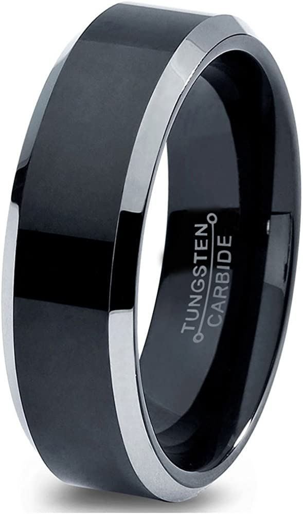Charming Jewelers Tungsten Wedding Band Ring 6mm for Men Women Comfort Fit Black Grey Beveled Edge Brushed Polished