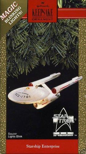 1991 25th Anniversary Star Trek Starship Enterprise Hallmark Ornament with Blinking Lights by Hallmark