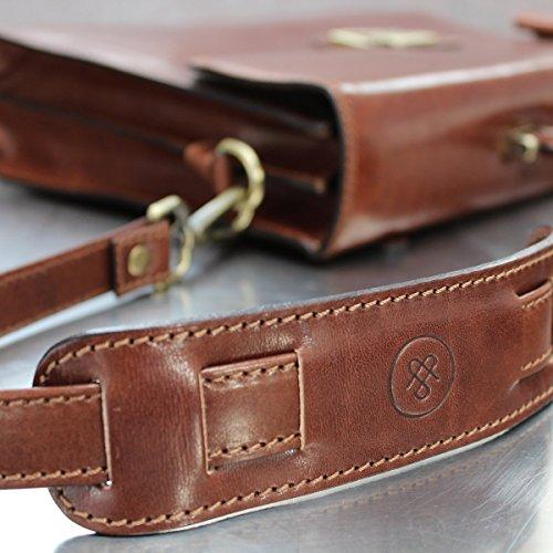 The Black Strap Shoulder Leather Tan Classic Bag Luxury Italian Full Strap Maxwell Scott Handmade Grain q0wvvz