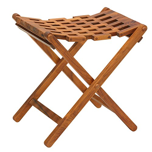 Bare Decor Mosaic Folding Stool in Solid Teak Wood by Bare Decor