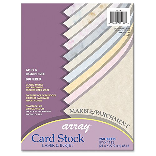 Pacon Card Stock Assortment, 8 1/2 inches by 11 inches, Mable & Parchment Assortment, 250 Sheets (101196)